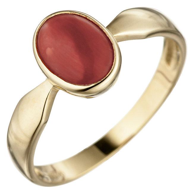 Aurora Patina Gouden ring met rode koraal