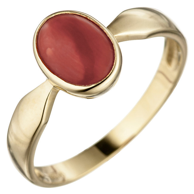 Gouden ring (333) met rode koraal