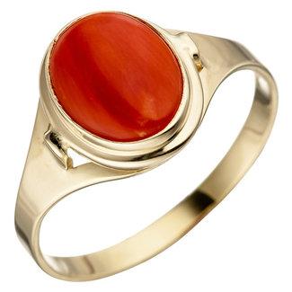 Aurora Patina Gold ring with orange coral