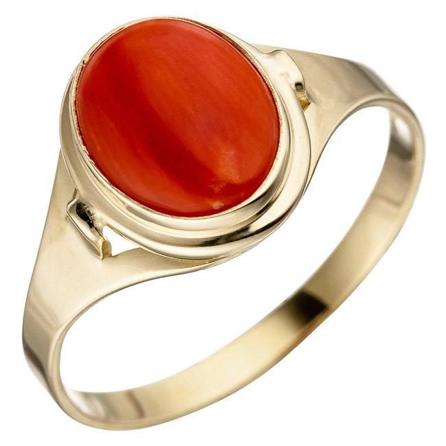 Gouden ring (333) met oranje koraal