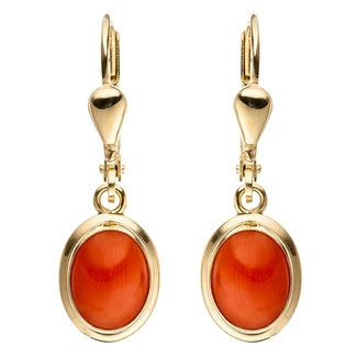 Aurora Patina Golden earrings with orange coral