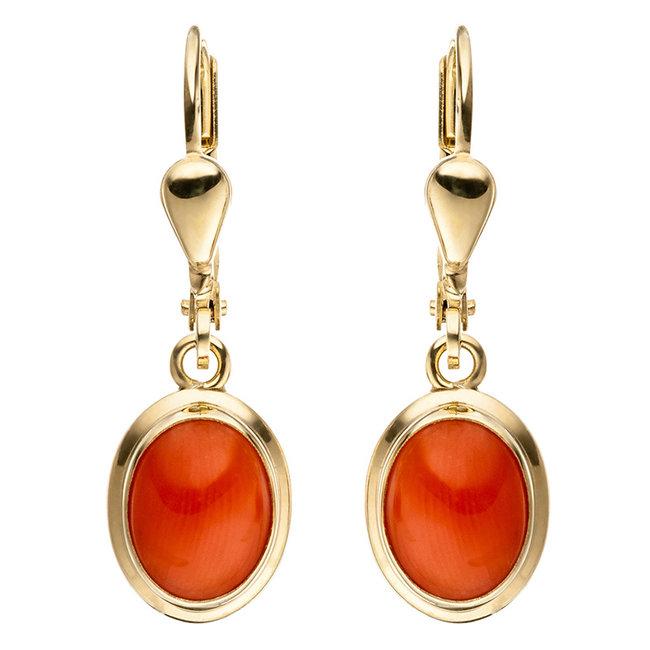 Gouden oorbellen 8 karaat met 2 oranje koralen