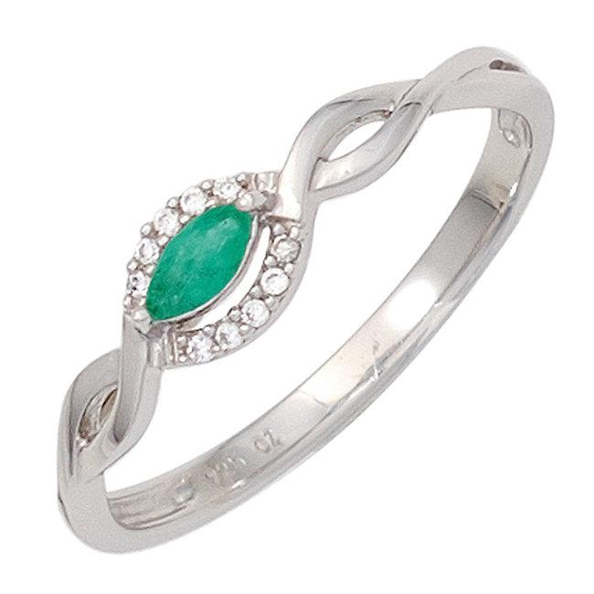 Wit gouden ring 8 karaat met smaragd en 10  briljanten