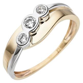 Aurora Patina Gold ring bicolor with 3 zirconias