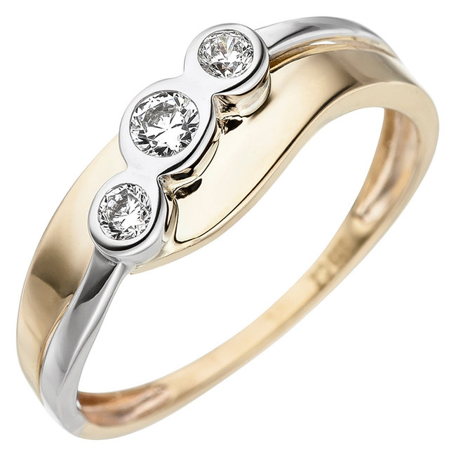 Aurora Patina Gouden ring bicolor met 3 zirkonia's