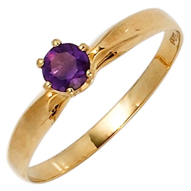 Gouden ring 14 karaat (585) met paarse amethist