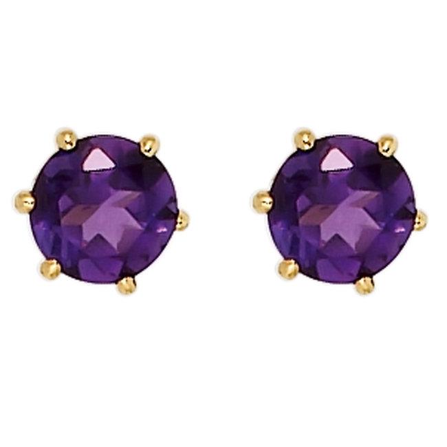Aurora Patina Gouden oorknopjes met paarse amethist