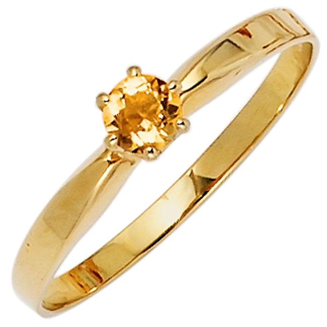 Gouden ring 14 karaat (585) met gele citrien