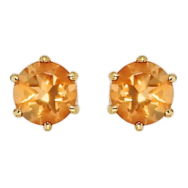 Gouden oorknopjes 14 karaat (585) met gele citrien