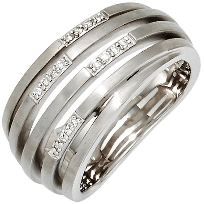 Brede zilveren ring gematteerd met 16 briljanten