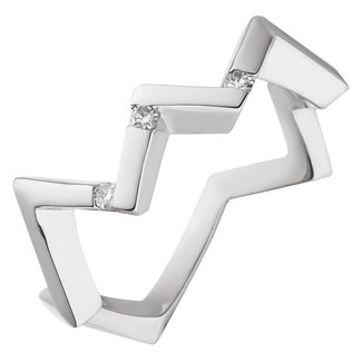 Aurora Patina Modern silver ring with 3 brilliant cut diamonds