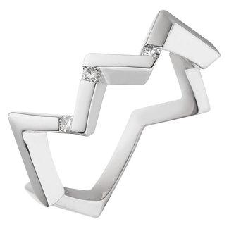 Aurora Patina Moderner Silberring mit 3  Diamanten Brillanten