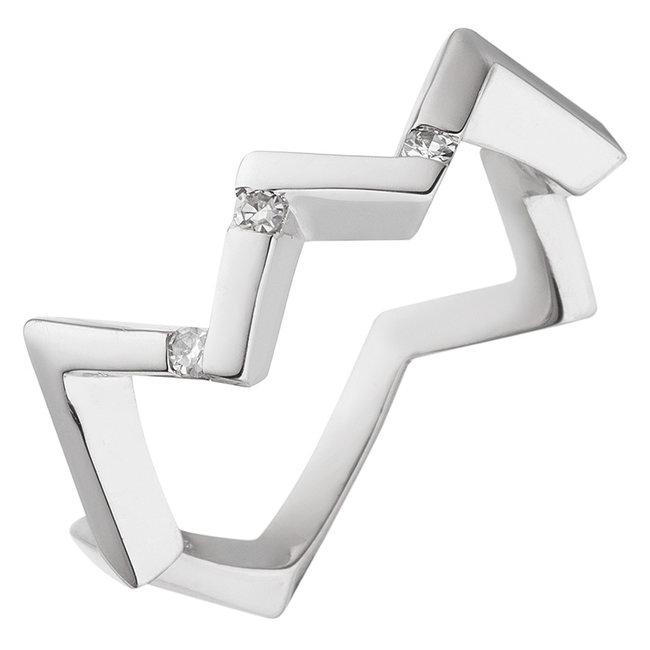 Aurora Patina Moderne zilveren ring met 3 briljanten diamanten
