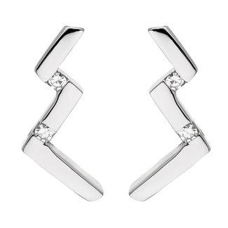 Aurora Patina Moderner Silberohrstecker  mit 4 Diamanten Brillanten