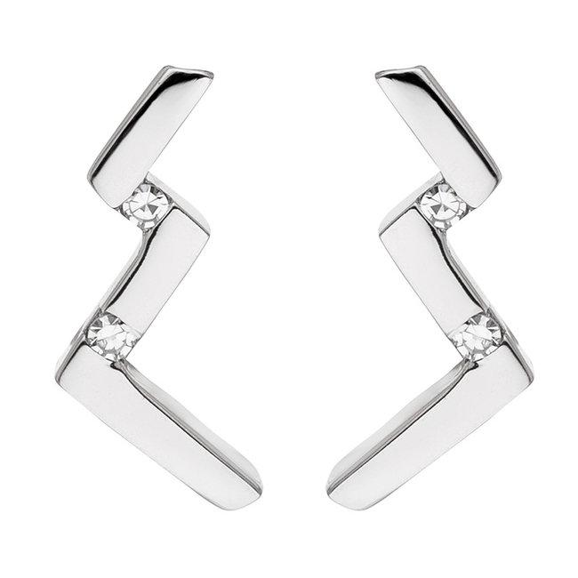 Aurora Patina Moderne zilveren oorstekers met 4 briljanten diamanten