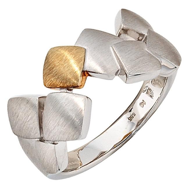 Mat zilveren ring gecombineerd met 14 kt. goud (585)