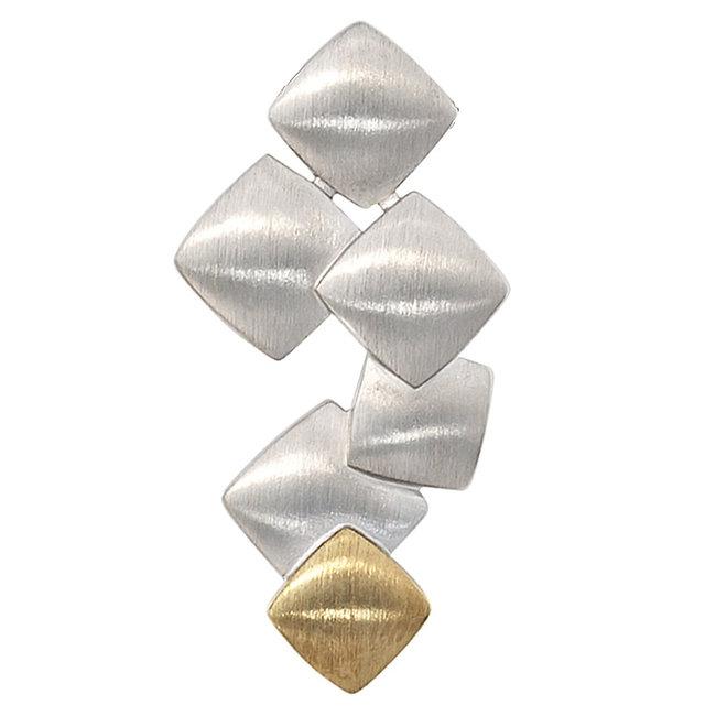 Mat zilveren hanger gecombineerd met 14 kt. goud (585)