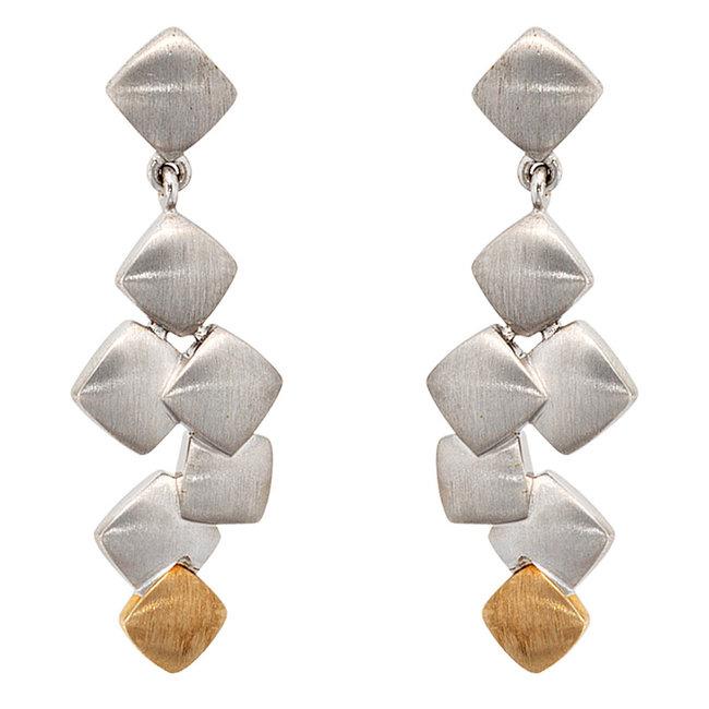 Moderne zilveren oorstekers gecombineerd met 14 kt. goud (585)