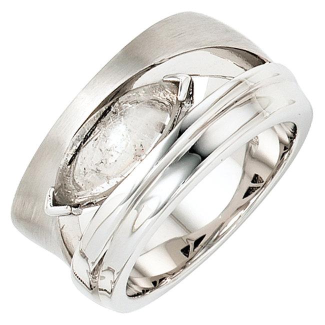 Brede zilveren ring deels gematteerd met toermalijn kwarts