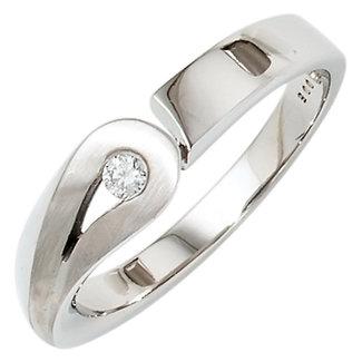 Aurora Patina Silver ring with 1 brilliant cut diamond