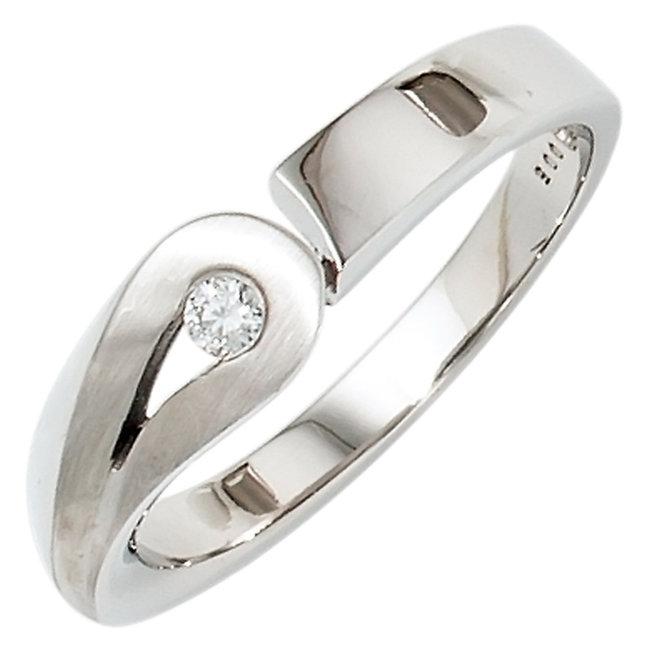 Zilveren ring deels gematteerd met 1 briljant diamant