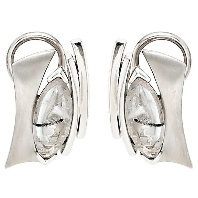 Zilveren hanger deels gematteerd met toermalijn kwarts