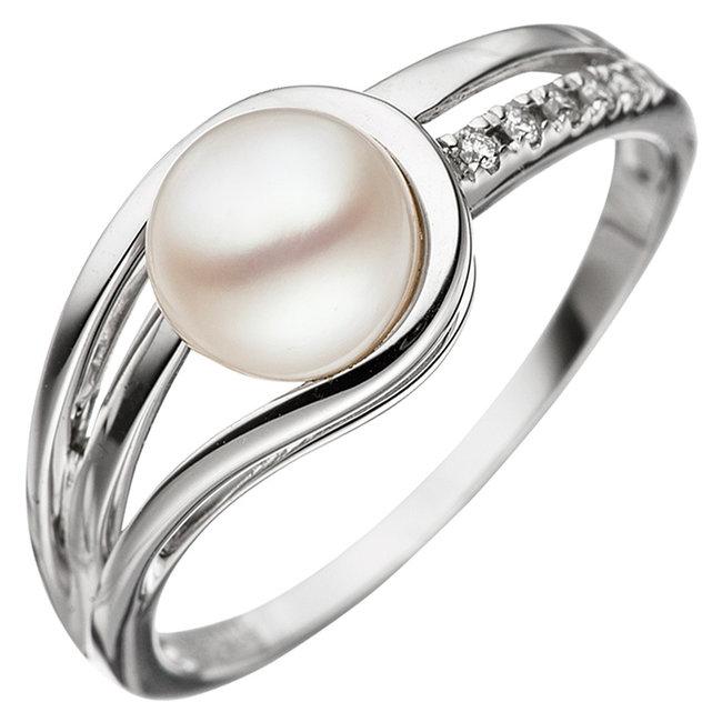 Wit gouden ring 14 karaat met zoetwaterparel en 5 briljanten