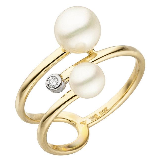 Gouden ring 14 karaat met 2 zoetwaterparels en 1 briljant