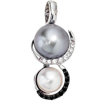 Aurora Patina Weißgoldanhänger mit Perlen und 17 Diamanten