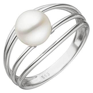 Aurora Patina Weißgold Ring Loops mit Süßwasser Perle