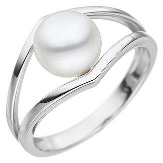 Aurora Patina Witgouden ring Moderna met zoetwaterparel