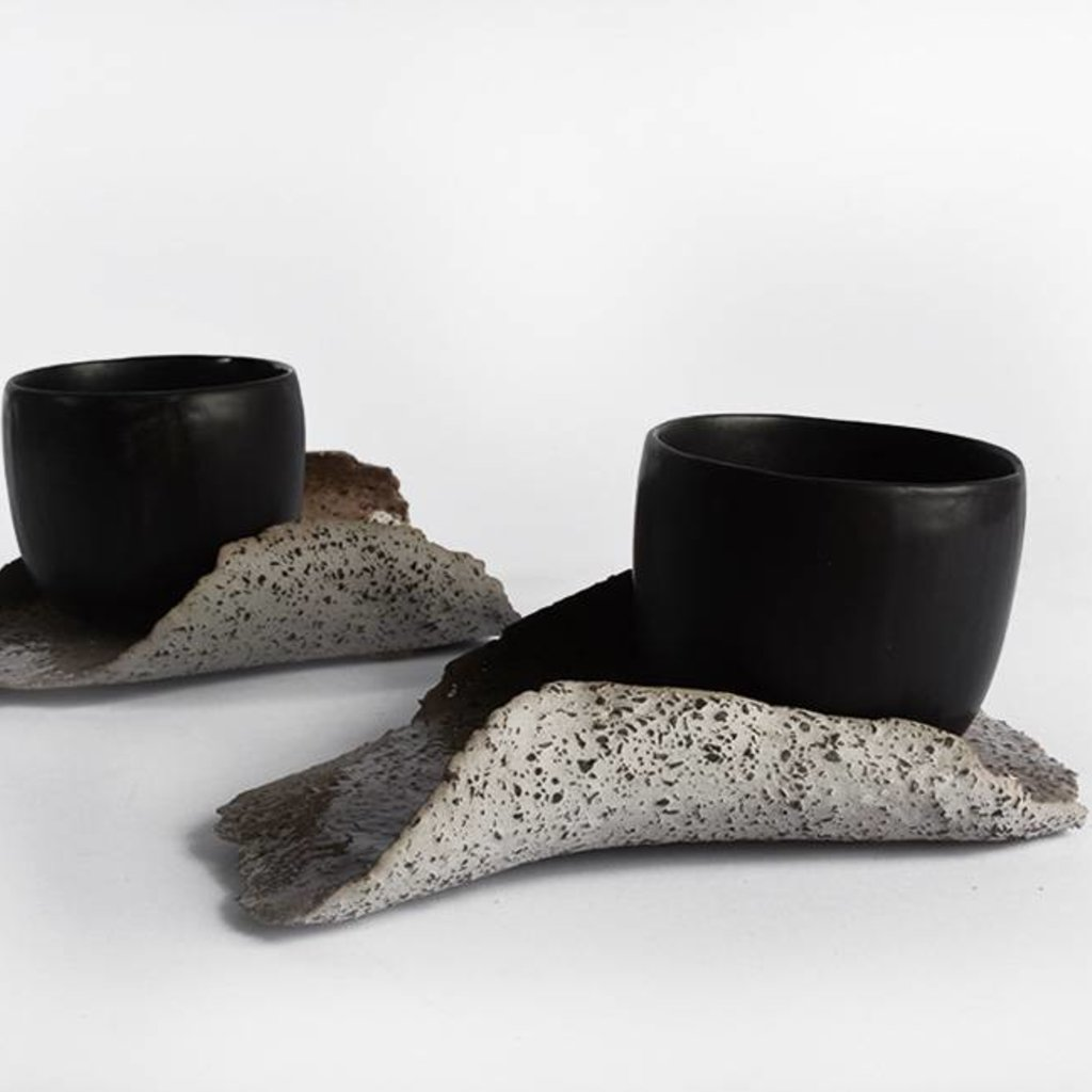 Black  Cup With Saucer