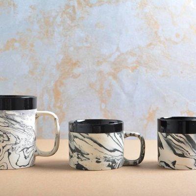 Kinta Marblelook Ceramic Cup, Black