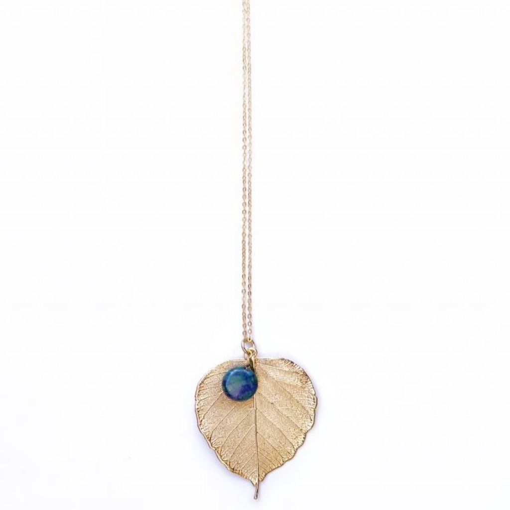 Liff Necklace Bodhi Leaf with Azurit