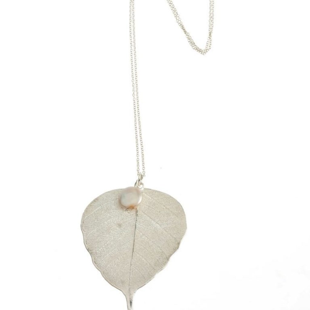 Liff Silver Necklace Bodhi Leaf Pearl