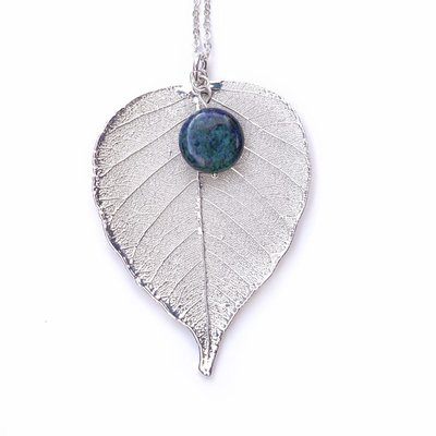 Liff Silver Necklace Bodhi Leaf Azurit