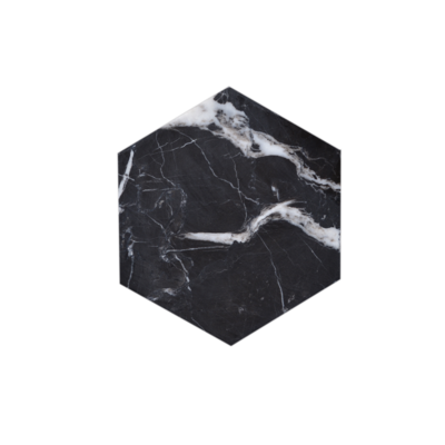 Kiwano Black Marble Hexagon Coasters Set
