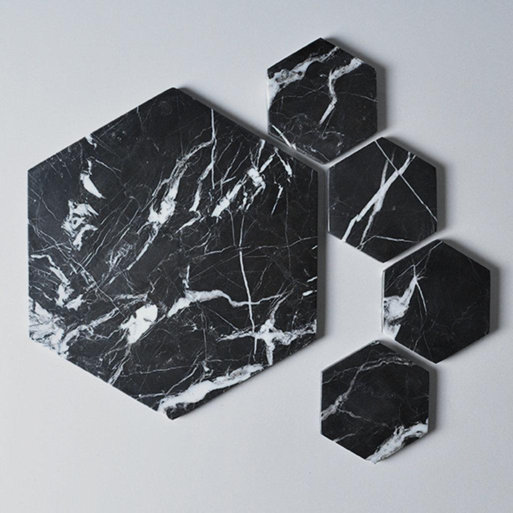 Kiwano Black Marble Hexagon Coasters Set of 4