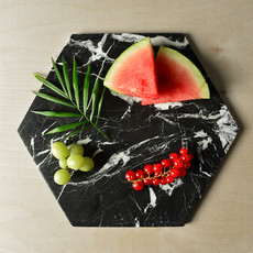 Kiwano Black Marble Hexagon Platter Small