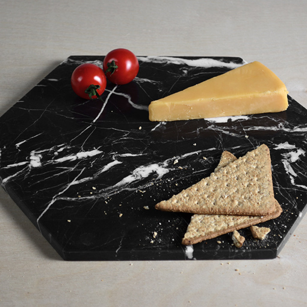 Kiwano Black Hexagon Marble Platter Medium