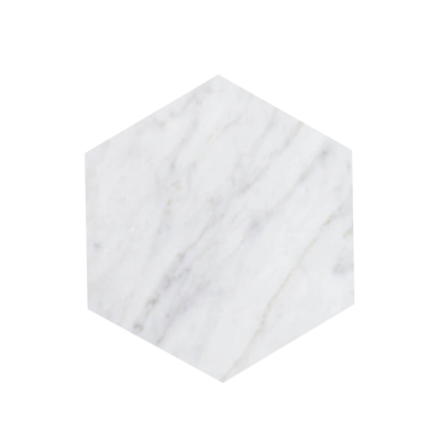 Kiwano Bianco White Marble -Hexagon Platter Small