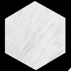 Kiwano Bianco White Marble Hexagon Platter Medium