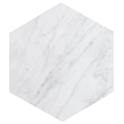 Kiwano Bianco White Marble Hexagon Platter Medium