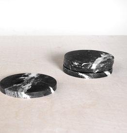 Kiwano Black Marble Round Coasters Set of 4