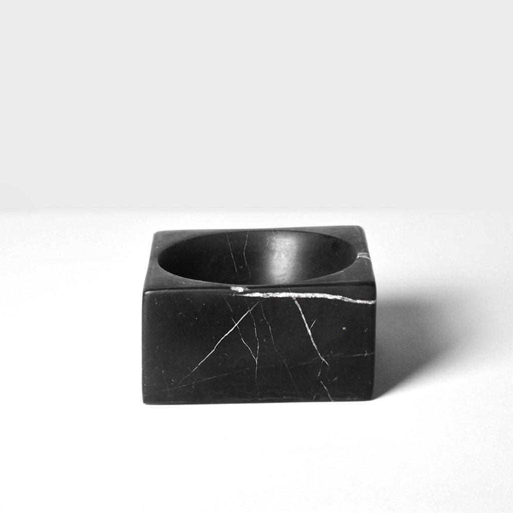 Kiwano Taurus Black Marble Square Bowl