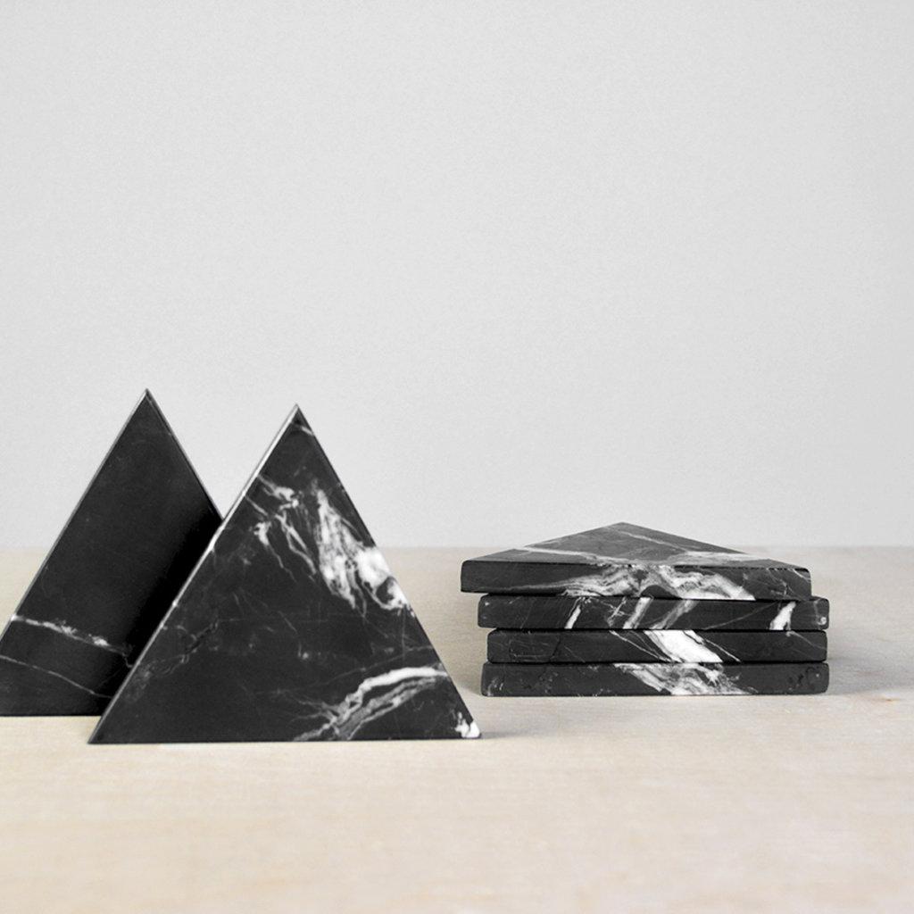 Kiwano Zwart Marmer Driehoek Onderzetters Set van 4