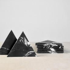 Kiwano Black Marble Triangle Coasters Set of 4