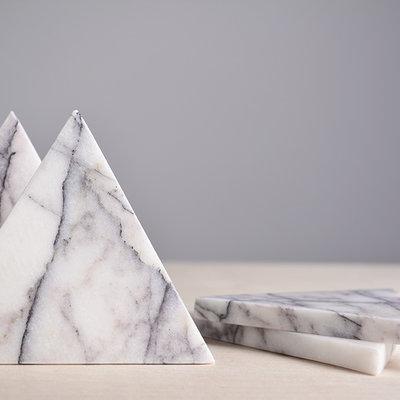 Kiwano Lilac Marble Triangle Coasters Set
