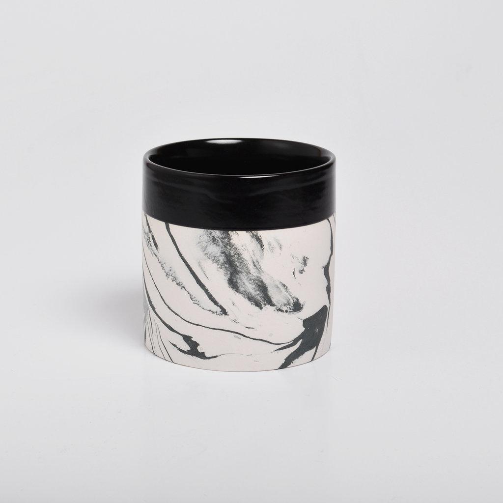 Kinta Marmerlook Keramiek Kopje | Zwart