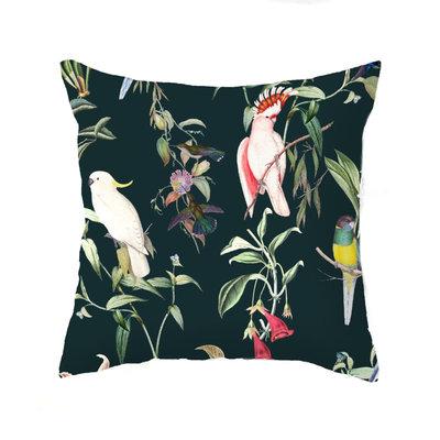 Annet Weelink Kussen - BIRDS OF PARADISE deep teal